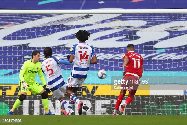 Ashley Fletcher of Middlesbrough scores their side's first goal during the Sky Bet Championship match between Reading and Middlesbrough at Madejski...