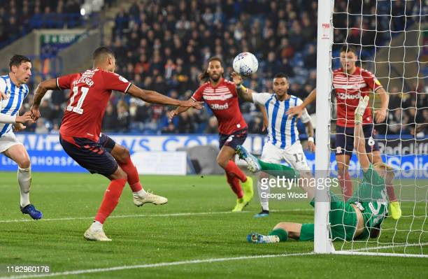 Ashley Fletcher of Middlesbrough shoots during the Sky Bet Championship match between Huddersfield Town and Middlesbrough at John Smith's Stadium on...