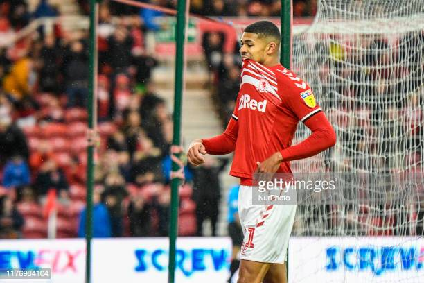 Ashley Fletcher of Middlesbrough shows his disappointment after missing from close range during the Sky Bet Championship match between Middlesbrough...