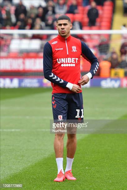 Ashley Fletcher of Middlesbrough warming up during the Sky Bet Championship match between Charlton Athletic and Middlesbrough at The Valley London on...
