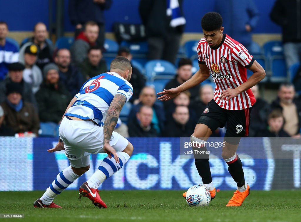 Ashley Fletcher of Sunderland and Joel Lynch of QPR in action during the Sky Bet Championship match between QPR and Sunderland at Loftus Road on March 10, 2018 in London, England.