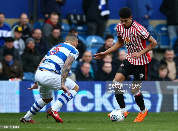 Ashley Fletcher of Sunderland and Joel Lynch of QPR in action during the Sky Bet Championship match between QPR and Sunderland at Loftus Road on...