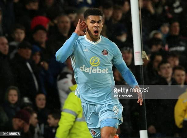 Ashley Fletcher of Sunderland celebrates scoring the second goal during the Sky Bet Championship match between Derby County and Sunderland at iPro...