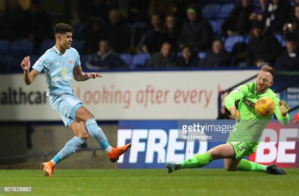 Ashley Fletcher of Sunderland has his shot saved by Ben Alnwick during the Sky Bet Championship match between Bolton Wanderers and Sunderland at...