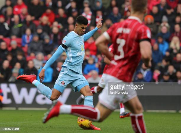 Ashley Fletcher of Sunderland shoots during the Sky Bet Championship match between Bristol City and Sunderland at Ashton Gate on February 10 2018 in...