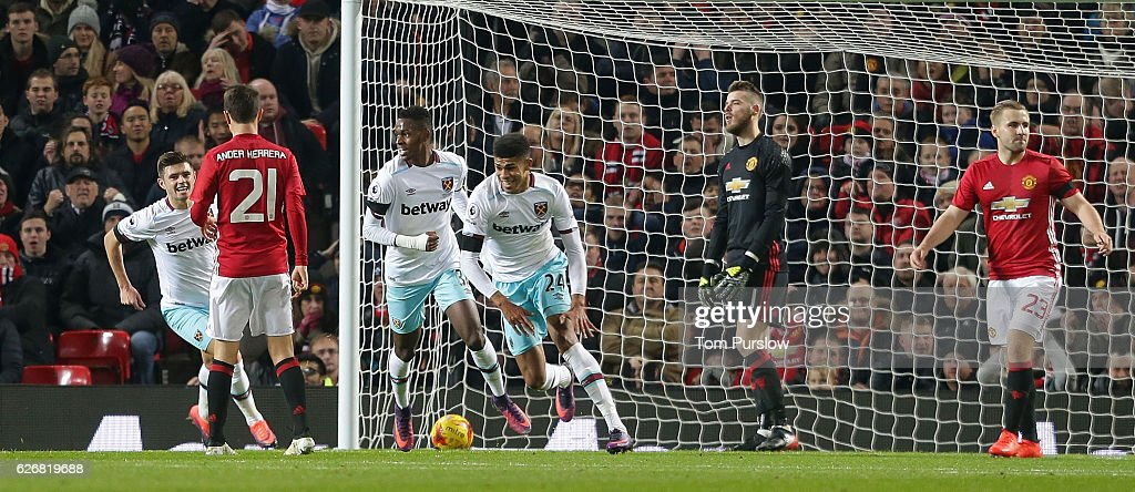 Ashley Fletcher of West Ham United celebrates scoring their first goal during the EFL Cup Quarter-Final match between Manchester United and West Ham United at Old Trafford on November 30, 2016 in Manchester, England.