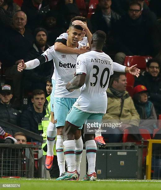 Ashley Fletcher of West Ham United celebrates scoring their first goal during the EFL Cup QuarterFinal match between Manchester United and West Ham...
