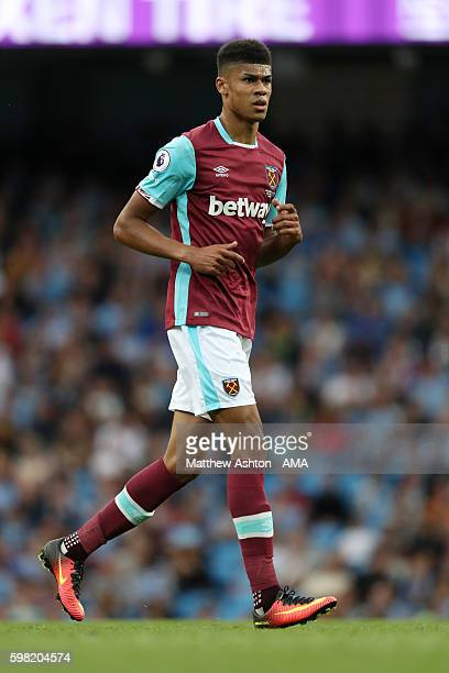 Ashley Fletcher of West Ham United during the Premier League match between Manchester City and West Ham United at Etihad Stadium on August 27 2016 in...