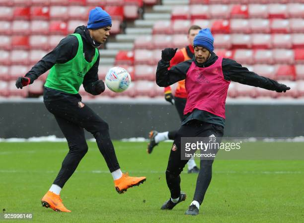 Ashley Fletcher takes on Jake ClarkeSalter during a Sunderland training session at Stadium of Light on March 1 2018 in Sunderland England