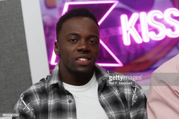 Ashley Fongho from X Factor winning group RakSu on with Ricky Melvin and Charlie at Kiss FM Studio's on December 6 2017 in London England