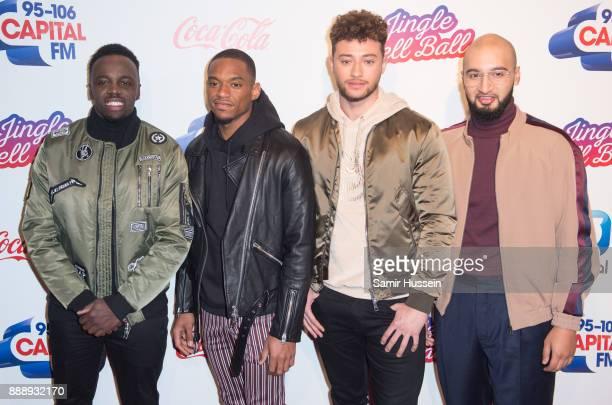 Ashley Fongho Jamaal Shurland Myles Stephenson and Mustafa Rahimtulla of RakSu attend the Capital FM Jingle Bell Ball with CocaCola at The O2 Arena...