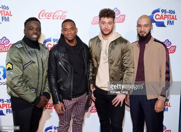 Ashley Fongho Jamaal Shurland Myles Stephenson and Mustafa Rahimtulla from RakSu attend the Capital FM Jingle Bell Ball with CocaCola at The O2 Arena...
