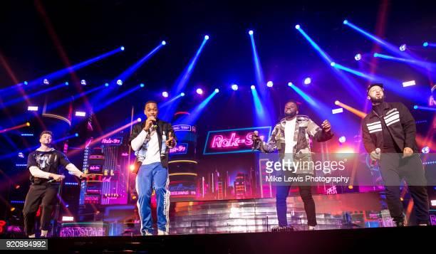 Ashley Fongho Mustafa Rahimtulla Jamaal Shurland and Myles Stephenson of RakSu perform on the X Factor Live tour on February 19 2018 in Cardiff...