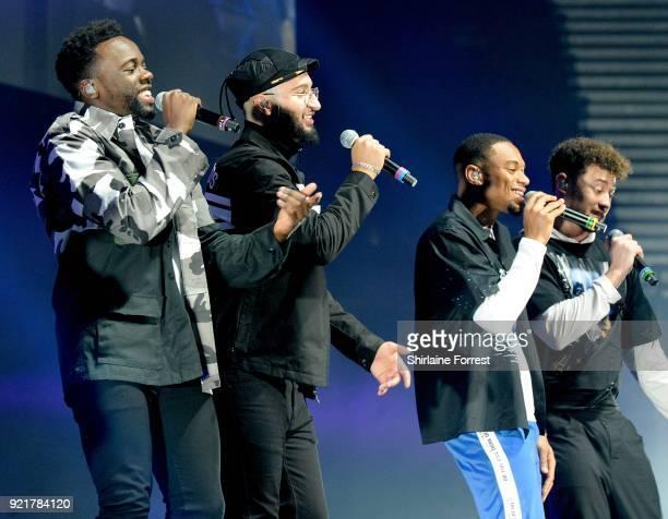 Ashley Fongo Jamaal Shurland Mustafa Rahimtulla and Myles Stephenson of RakSu perform during The X Factor Live at Manchester Arena on February 20...