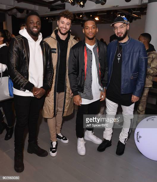Ashley Fongo Myles Stephenson Jamaal Shurland and Mustafa Rahimtulla of RakSu attend the Blood Brother show during London Fashion Week Men's January...