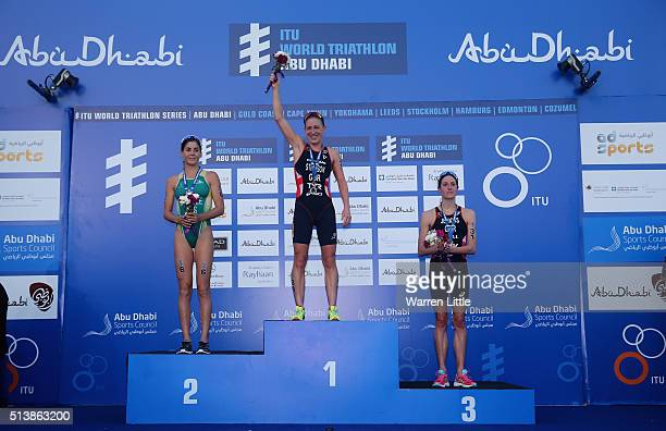 Ashley Gentle of Australia Jodie Stimpson of Great and Helen Jenkins of Great Britain celebrate on the podium after the Elite Women's 2016 ITU World...