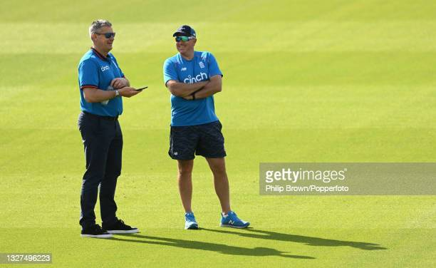 Ashley Giles and Chris Silverwood of England talk during a training session before the first One Day International against Pakistan at Sophia Gardens...