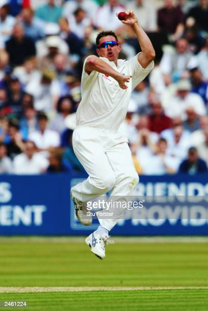Ashley Giles of England bowls during the third day of the first npower test match between England and South Africa held on July 26 2003 at the...
