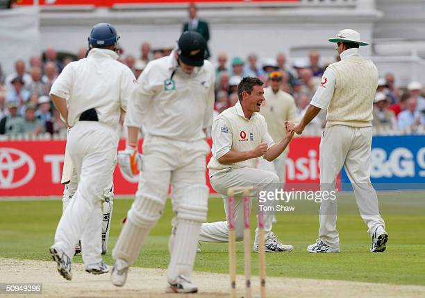 Ashley Giles of England celebrates taking the wicket of Scott Styris of New Zealand during the second day of the 3rd Npower Test match between...