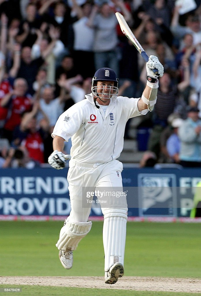 Ashley Giles of England celebrates the winning runs during day four of the Fourth npower Ashes Test between England and Australia on August 28, 2005 played at Trent Bridge in Nottingham, United Kingdom.