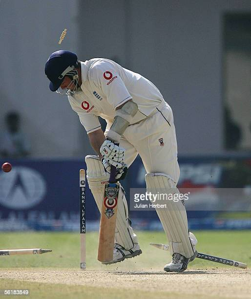 Ashley Giles of England is bowled by Shoaib Akhtar during the Fifth day of the First Test Match between Pakistan and England at The Multan Cricket...