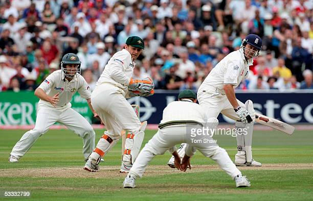 Ashley Giles of England is caught by Matthew Hayden off the bowling of Shane Warne of Australia during day three of the Second npower Ashes Test...