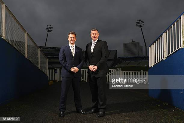 Ashley Giles the Sport Director of Warwickshire County Cricket Club and First Team Coach Jim Troughton pose at Edgbaston on January 9 2017 in...