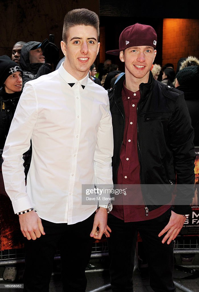 Ashley Glazebrook (L) and Glen Murphy of Twist and Pulse attends the UK Premiere of 'Olympus Has Fallen' at BFI IMAX on April 3, 2013 in London, England.