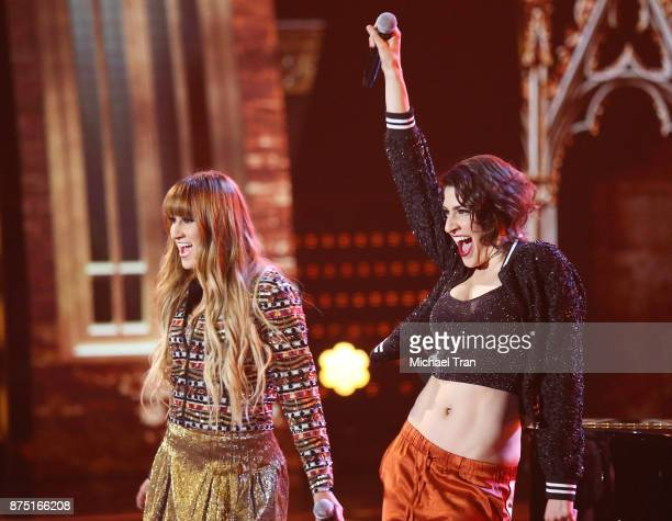Ashley Grace Perez Mosa and Hanna Nicole Perez Mosa of HaAsh perform onstage during the 18th Annual Latin Grammy Awards held at MGM Grand Garden...