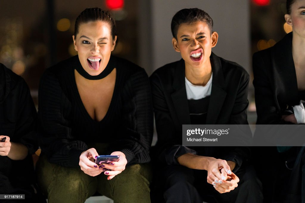 Ashley Graham (L) and Dilone seen during rehearsal before the Prabal Gurung fashion show during New York Fashion Week at Gallery I at Spring Studios on February 11, 2018 in New York City.