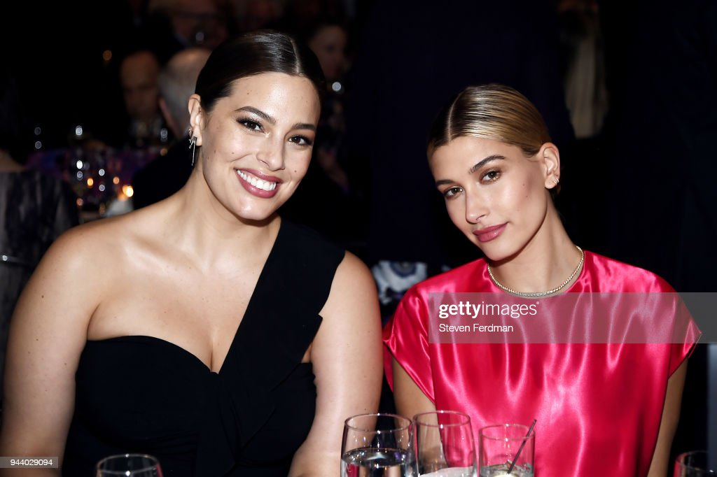Ashley Graham and Hailey Baldwin attend the International Center of Photography's 2018 Infinity awards on April 9, 2018 in New York City.