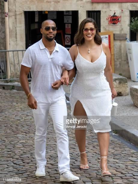 Ashley Graham and husband Justin Ervin arrive at the Hotel de la Mirande for a white dinner before the wedding of Sophie Turner and Joe Jonas on June...