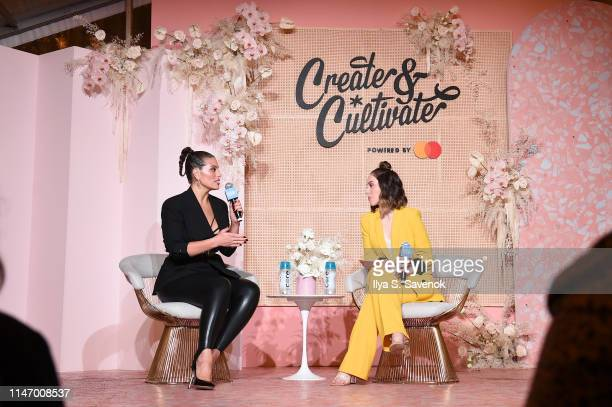 Ashley Graham and Jaclyn Johnson speak on stage at Create Cultivate New York presented by Mastercard at Industry City on May 04 2019 in Brooklyn New...