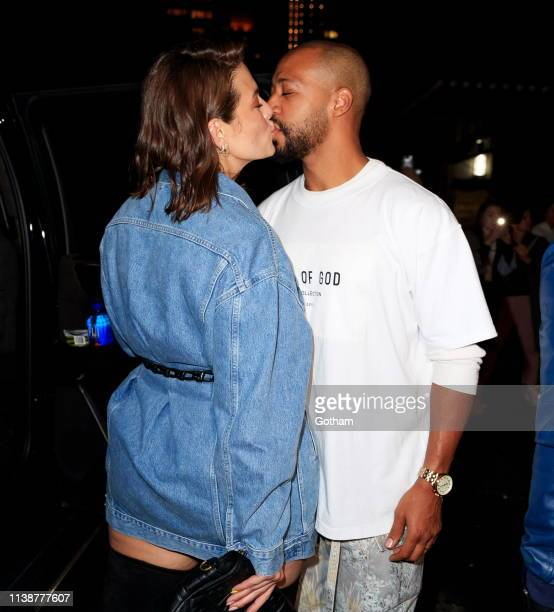Ashley Graham and Justin Ervin arrive at Gigi Hadid's birthday party at Chalet on April 22 2019 in New York City