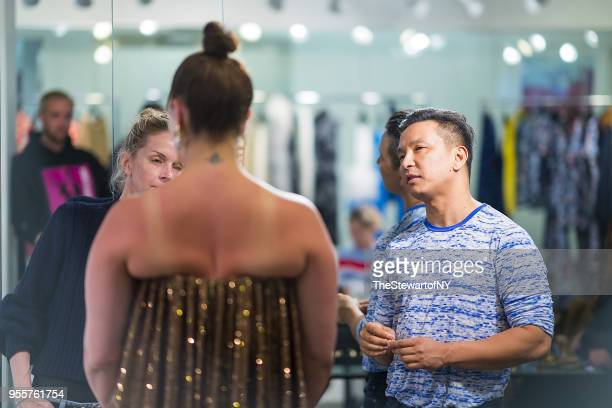 Ashley Graham and Prabal Gurung are seen during fittings for her dress by Prabal Gurung on April 30 2018 in New York City
