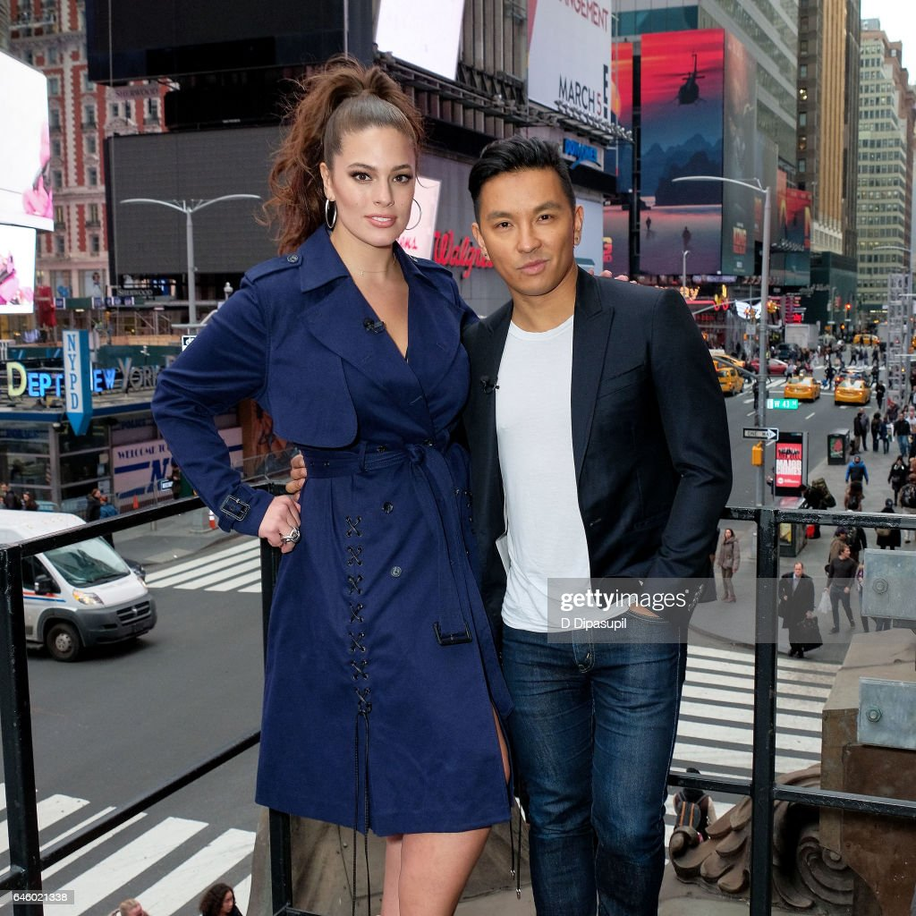 Ashley Graham (L) and Prabal Gurung visit 'Extra' at their New York studios at the Hard Rock Cafe in Times Square on February 27, 2017 in New York City.
