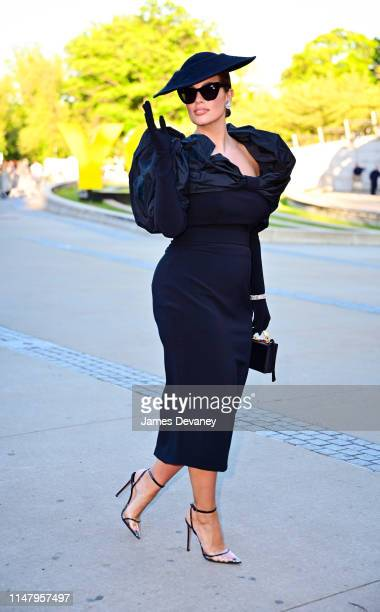 Ashley Graham arrives to the 2019 CFDA Fashion Awards at Brooklyn Museum on June 3 2019 in New York City