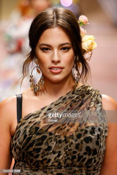 Ashley Graham at the Dolce Gabbana show during Milan Fashion Week Spring/Summer 2019 on September 23 2018 in Milan Italy