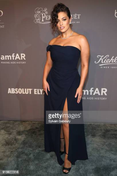 Ashley Graham attends 2018 amfAR Gala New York Arrivals at Cipriani Wall Street on February 7 2018 in New York City
