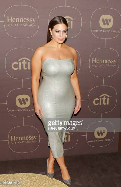 Ashley Graham attends the Warner Music Group's annual Grammy celebration in association with V magazine on January 25 2018 in New York / AFP PHOTO /...