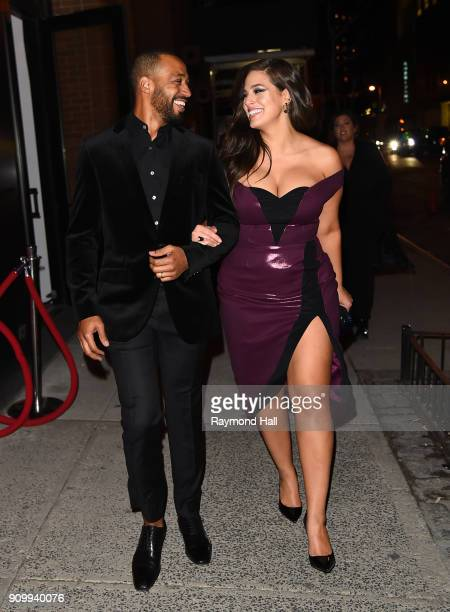Ashley Graham is seen with husband Justin Ervin on January 24 2018 in New York City