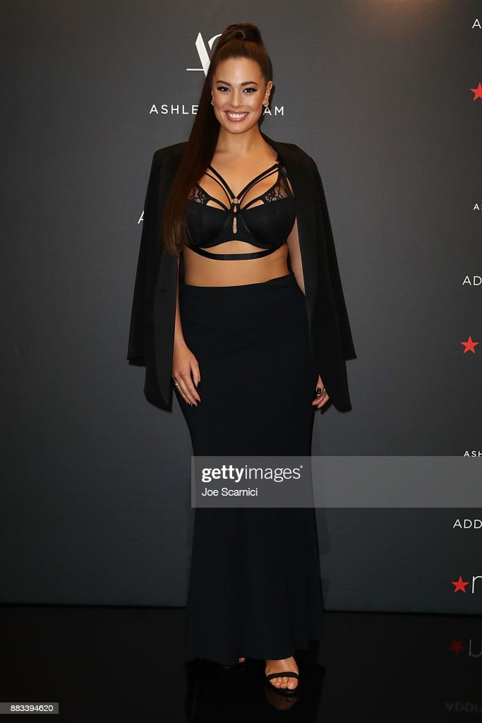 Ashley Graham poses as she brings her latest lingerie collection to Macy's South Coast Plaza at Macy's South Coast Plaza on November 30, 2017 in Costa Mesa, California.