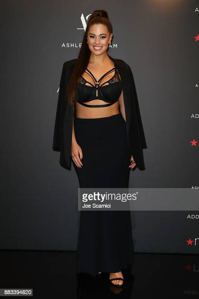 Ashley Graham poses as she brings her latest lingerie collection to Macy's South Coast Plaza at Macy's South Coast Plaza on November 30 2017 in Costa...