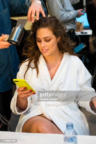 Ashley Graham prepares before the Prabal Gurung front row during New York Fashion Week The Shows at Gallery I at Spring Studios on February 10 2019...