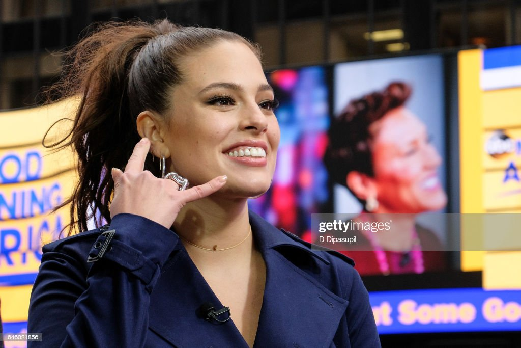 Ashley Graham visits 'Extra' at their New York studios at the Hard Rock Cafe in Times Square on February 27, 2017 in New York City.