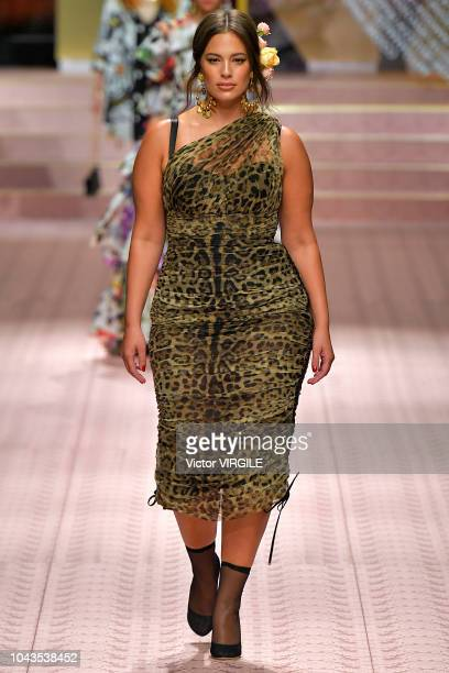 Ashley Graham walks the runway at the Dolce Gabbana Ready to Wear fashion show during Milan Fashion Week Spring/Summer 2019 on September 23 2018 in...
