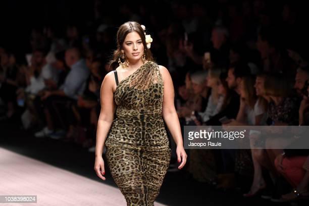 Ashley Graham walks the runway at the Dolce Gabbana show during Milan Fashion Week Spring/Summer 2019 on September 23 2018 in Milan Italy