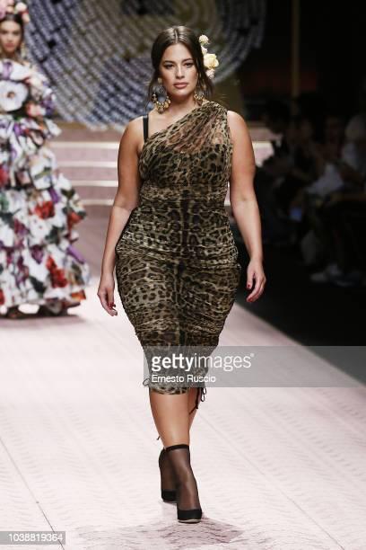 Ashley Graham walks the runway at the Dolce & Gabbana show during Milan Fashion Week Spring/Summer 2019 on September 23, 2018 in Milan, Italy.