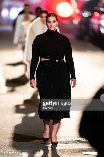 Ashley Graham walks the runway during at the Michael Kors Fashion Show at the Booth Theater in Midtown on April 08, 2021 in New York City.