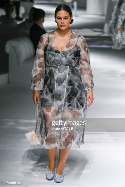 Ashley Graham walks the runway during the Fendi Ready to Wear Spring/Summer 2021 Fashion show as part of the Milano Fashion Week Spring/Summer 2021...